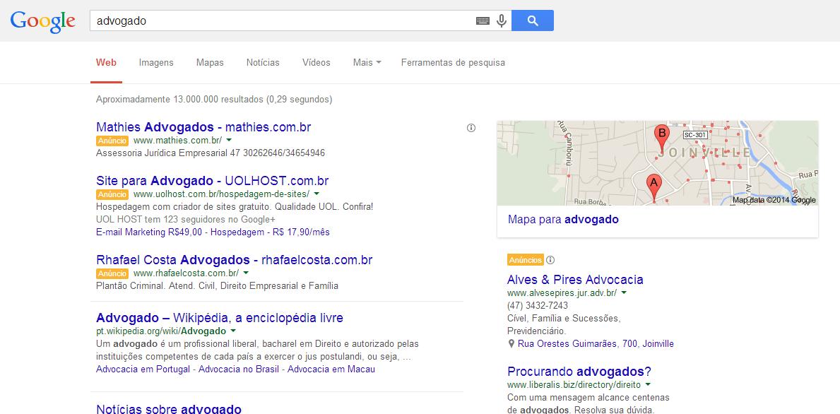 Pesquisa por advogados no Google