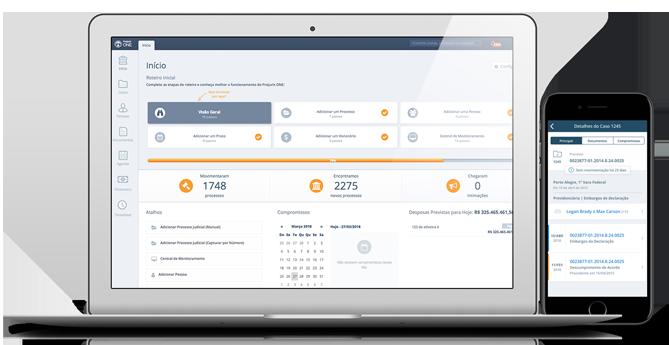 Interface software jurídico ProJuris para Escritórios