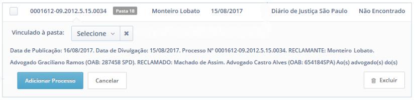 Mensagem quando processo não é encontrado no Software Jurídico ProJuris em captura de intimação