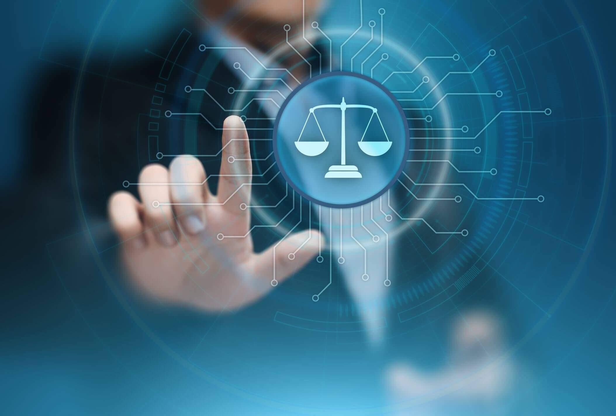 imagem azul com simbolo jurídico