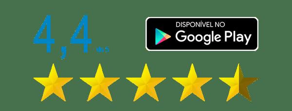 Aplicativo avaliado 4,4 de 5 na Google Play Store