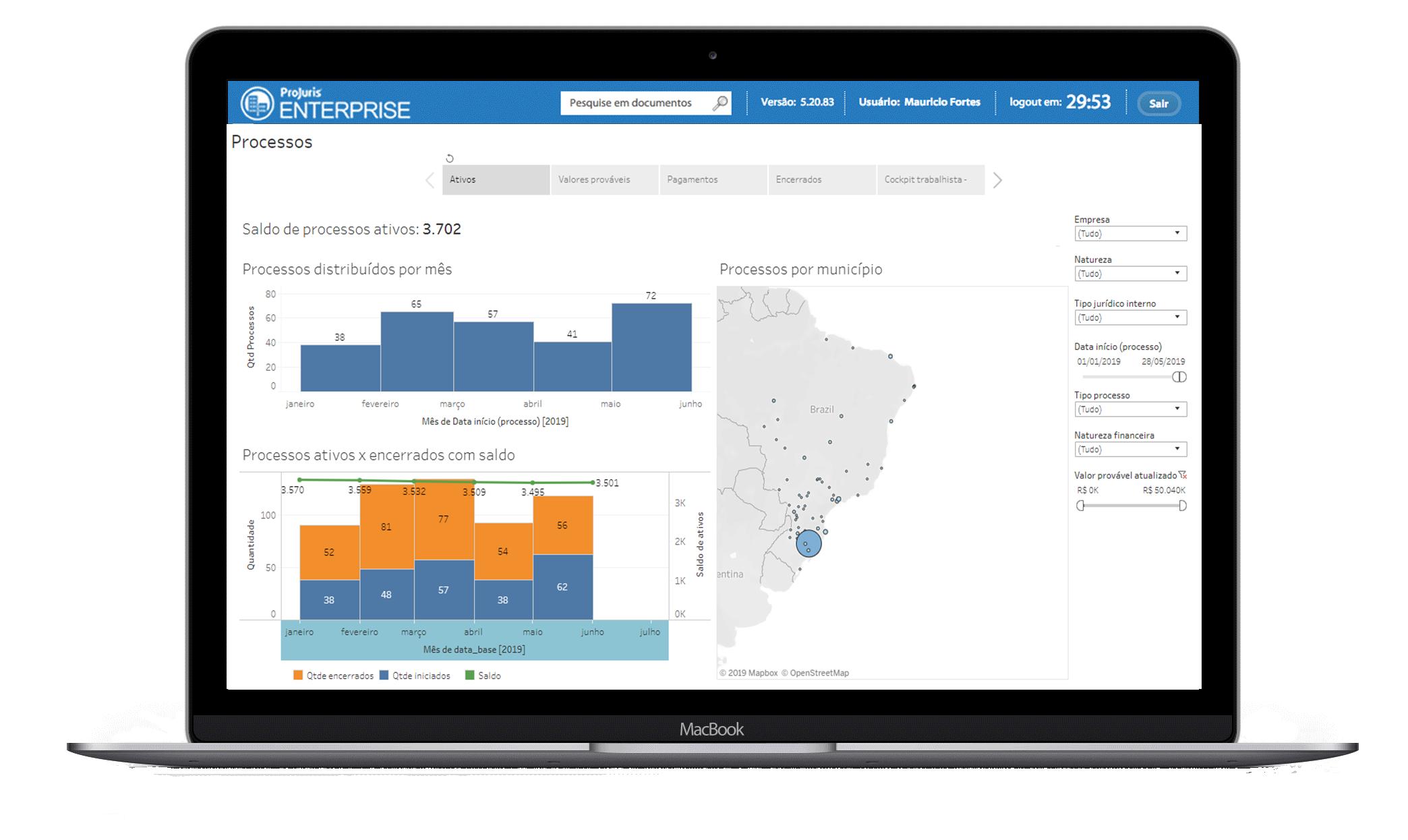 Interface ProJuris Software Jurídico para Empresas e Departamentos Jurídicos